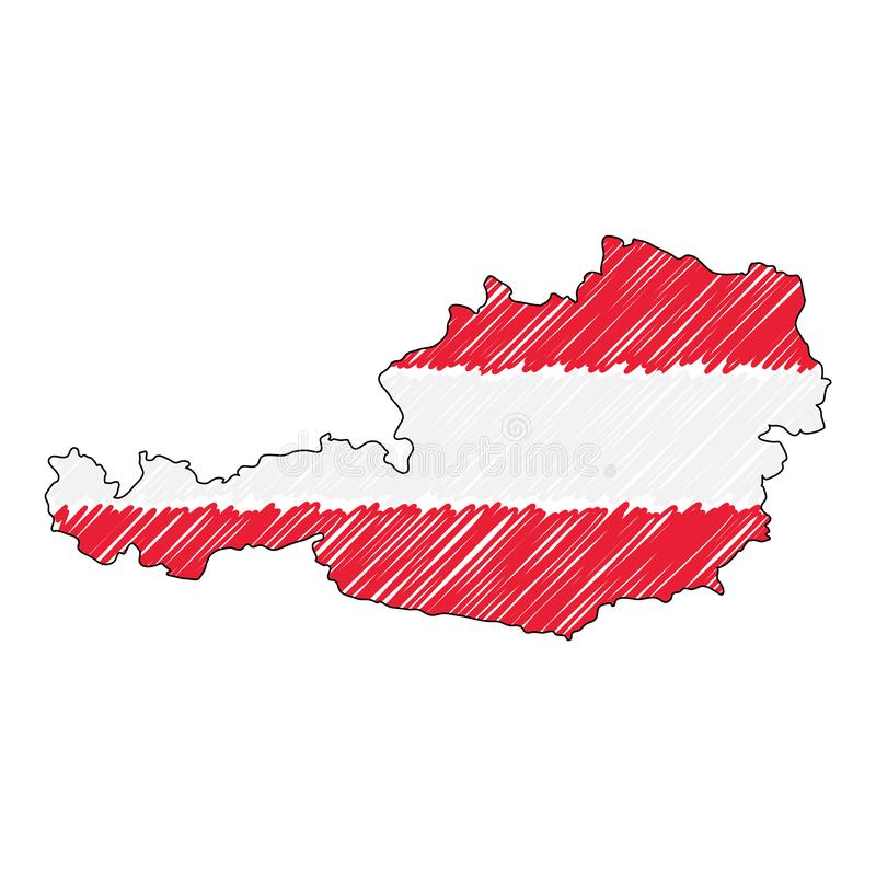 Austria map hand drawn sketch. Vector concept illustration flag, childrens drawing, scribble map. Country map for stock illustration