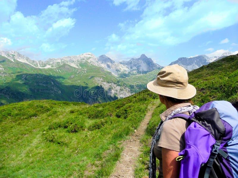 austria montan@as Picos de montaña Panorama de las montan@as imagen de archivo