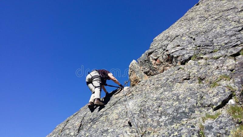 Austria. Mountain region `Stubai`. Training in rock climbing. stock images