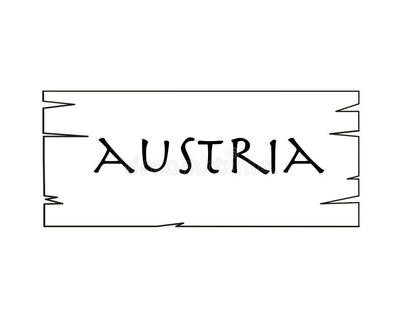 Austria, Nombre De País Escrito En El Fondo Blanco, Marco De Madera ...