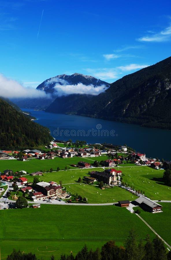 Austria: Airshot from Tyrolean mountain village Pertisau stock photos