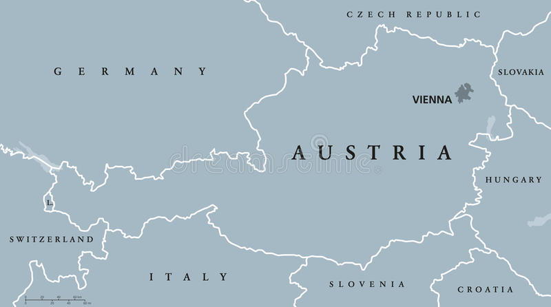 Austria Political Map Gray Colored Stock Vector Image - Political map of austria