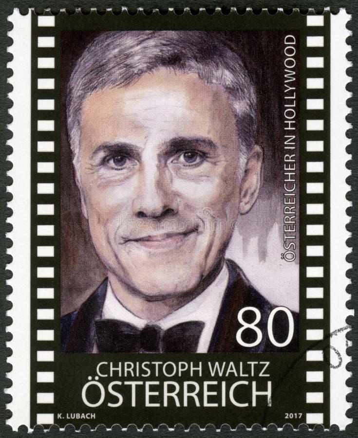 AUSTRIA - 2017: przedstawia portret Christopha Waltza urodzonego w 1956 roku, aktora obrazy stock