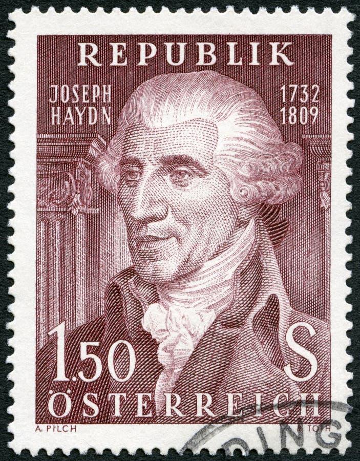 AUSTRIA - 1959: przedstawienia Franz Joseph Haydn 1732-1809, kompozytor obraz stock
