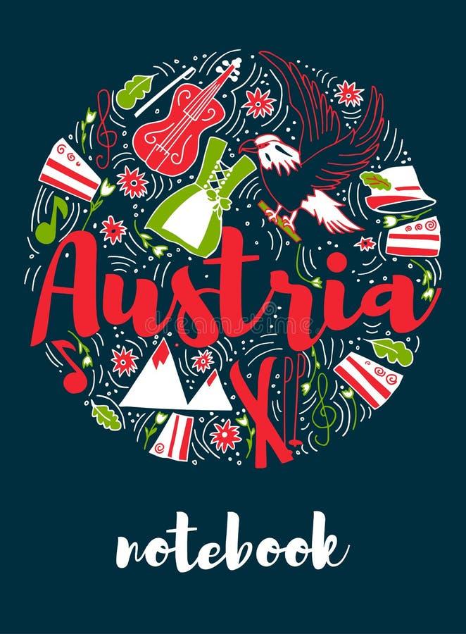 Austria punktu zwrotnego podróży i podróży Infographic Wektorowy projekt Austria kraju projekta szablon obraz royalty free