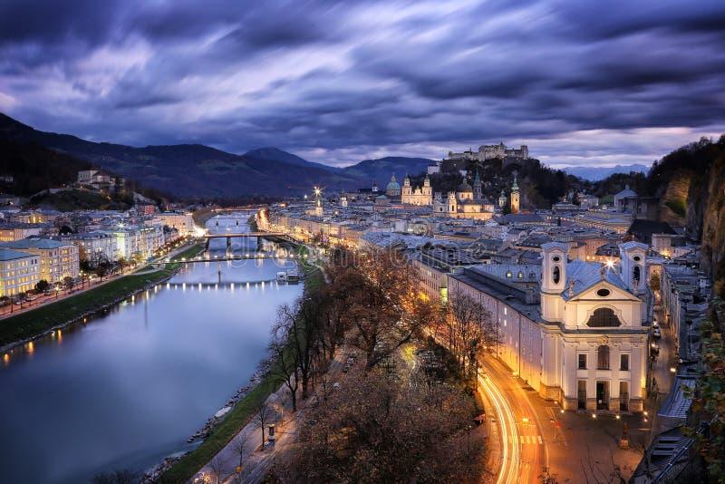 Austria: Salzburg castle. Old town and Salzburg castle during dusk royalty free stock photo