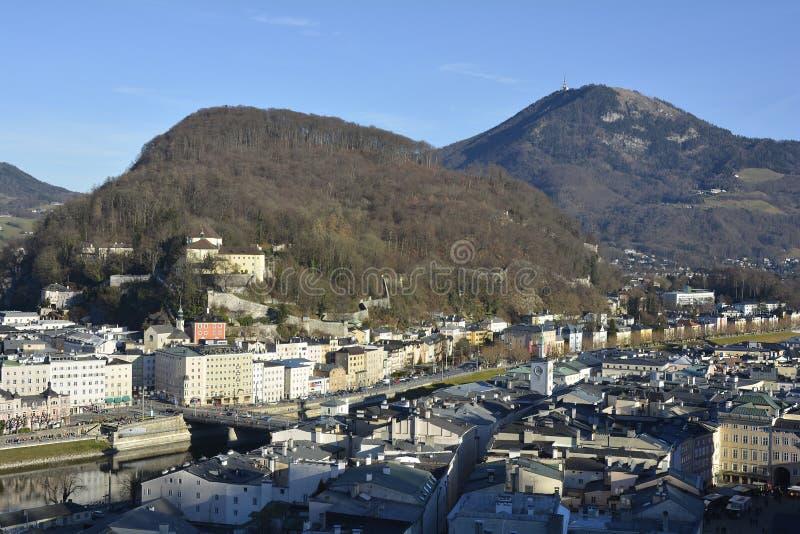 Austria_Salzburg. Austria, city of Salzburg with Capuchin monastery and Gaisberg peak stock photos