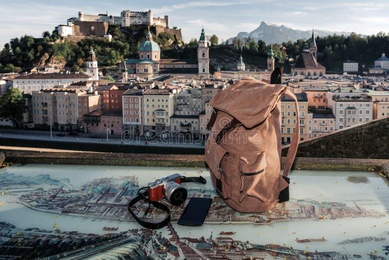 austria Salzburg Preparación para el viaje, mofa del turismo fotos de archivo libres de regalías