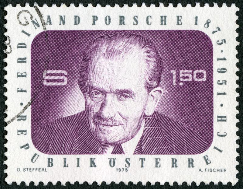 AUSTRIA - 1975: shows portrait of Ferdinand Porsche 1875-1951, Auto Maker, Engineer stock images
