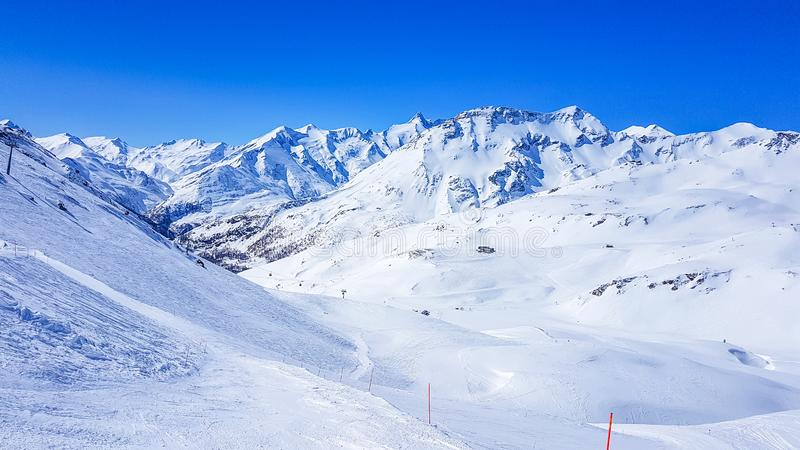 Austria - Ski resort with perfect groomed slopes stock photography