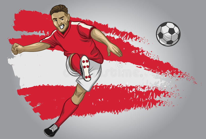 Austria soccer player with flag as a background vector illustration