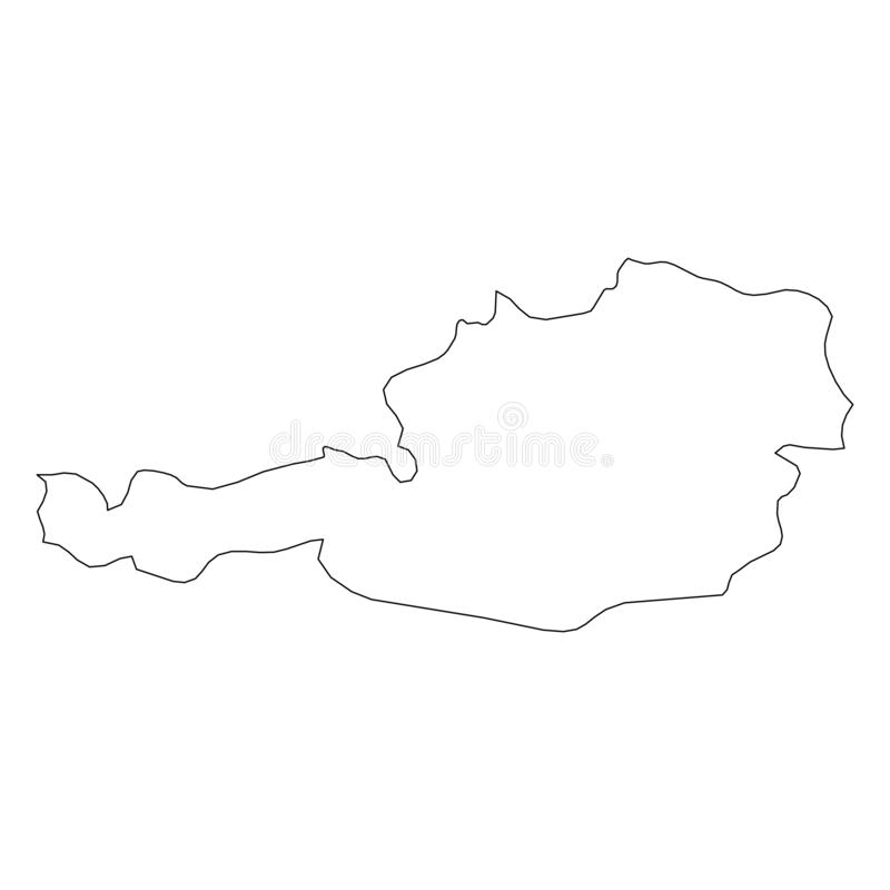 Austria - solid black outline border map of country area. Simple flat vector illustration vector illustration