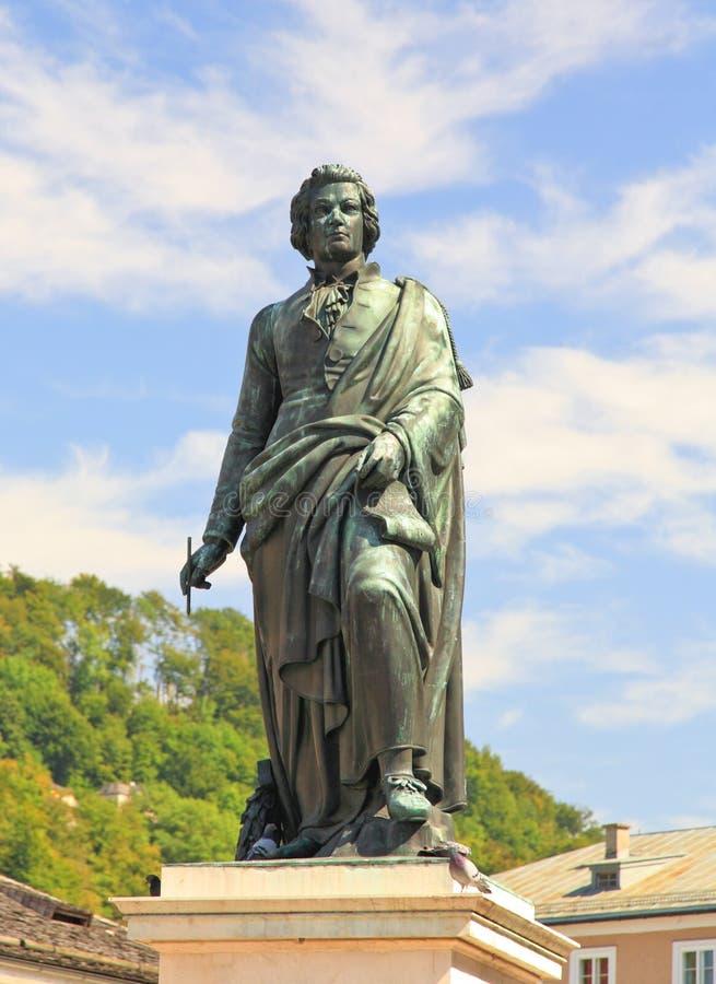 austria statua Mozart Salzburg fotografia stock