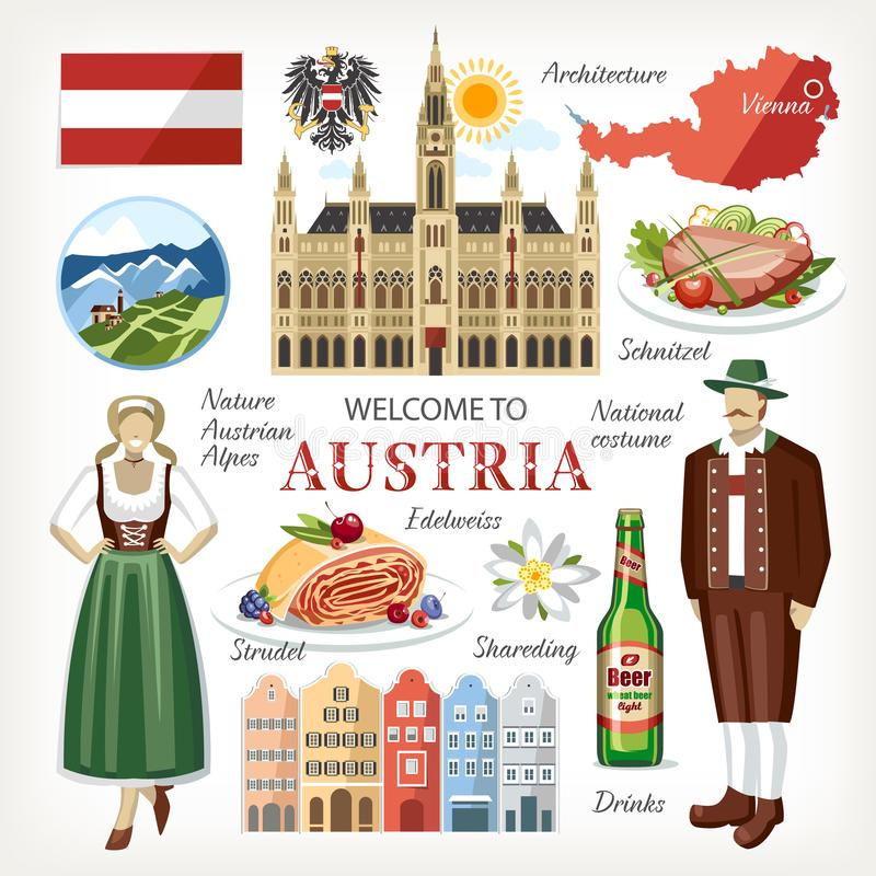 Austria symboli/lów kolekci tradycyjny set royalty ilustracja