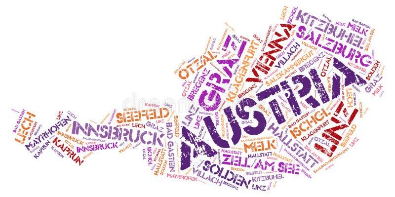 Austria top travel destinations word cloud. Austria Map silhouette word cloud with most popular travel destinations stock illustration