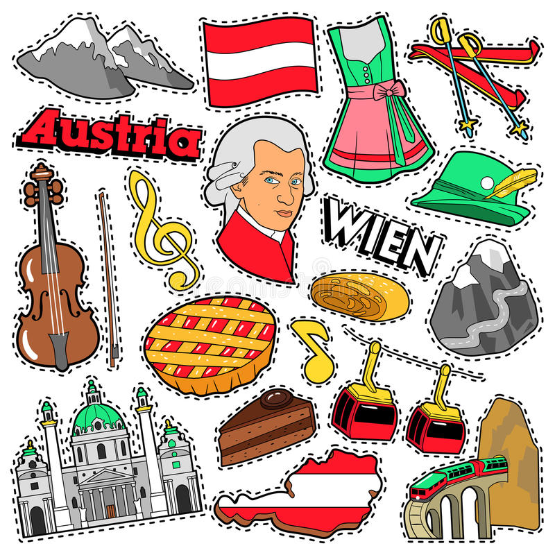 Austria Travel Scrapbook Stickers, Patches, Badges for Prints with Alps, Cake and Austrian Elements. Comic Style Vector Doodle royalty free illustration
