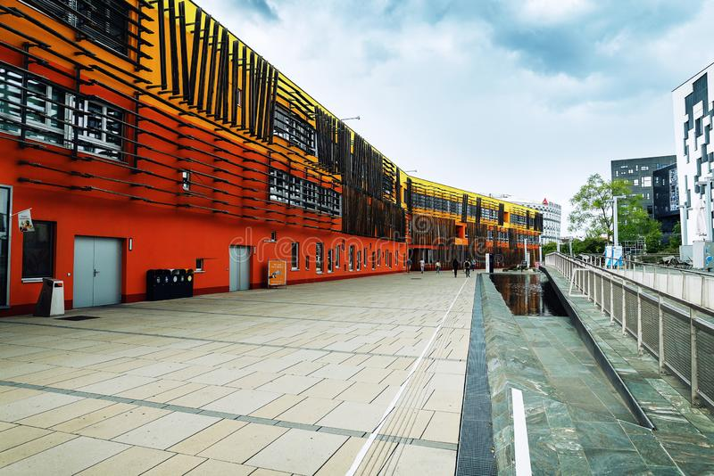 Ultra interesting modern buildings of the campus of The Vienna University of Economics and Business. Austria, Vienna - August 16, 2019: Ultra interesting modern stock photography