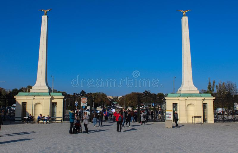 Austria; Vienna; October 21, 2018; Entrance to the Schonbrunn Palace or Schloss Schoenbrunn, imperial summer residence in Vienna. stock photography