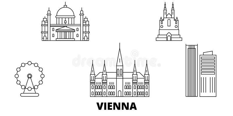 Austria, Wiedeń miasto linii podróży linia horyzontu set Austria, Wiedeń miasta konturu miasto wektorowa ilustracja, symbol, podr ilustracja wektor
