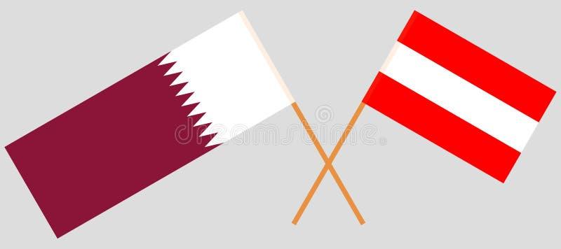 Austria y Qatar Las banderas del austriaco y de Qatari Colores oficiales Proporción correcta Vector libre illustration