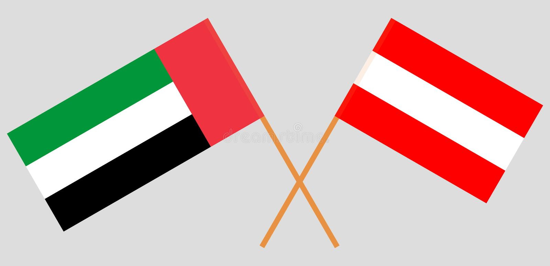 Austria y United Arab Emirates El austriaco y banderas de los UAE Colores oficiales Proporción correcta Vector stock de ilustración