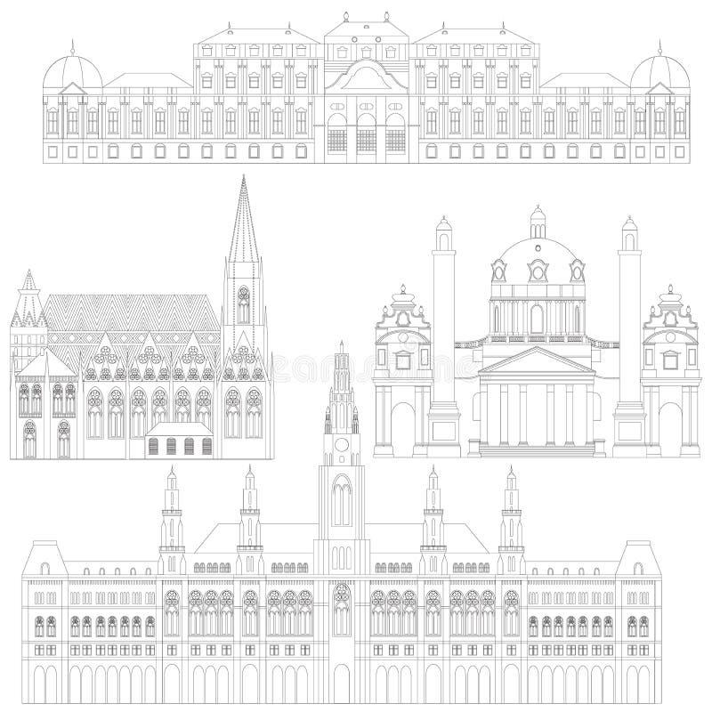 Austriaccy miasto widoki w Wiedeń Austria punktu zwrotnego podróży I podróży architektury elementy Stephansdom, Karlskirche, belw royalty ilustracja
