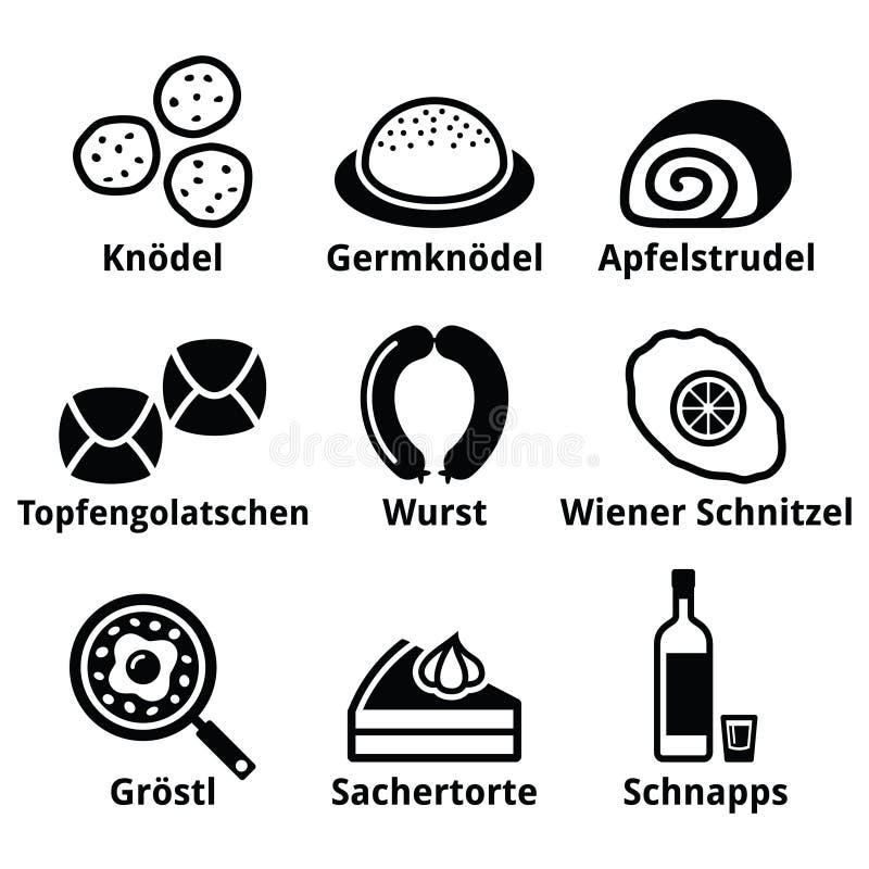 Austriacki jedzenie - tradycyjni posiłki napoju ikony ustawiać royalty ilustracja