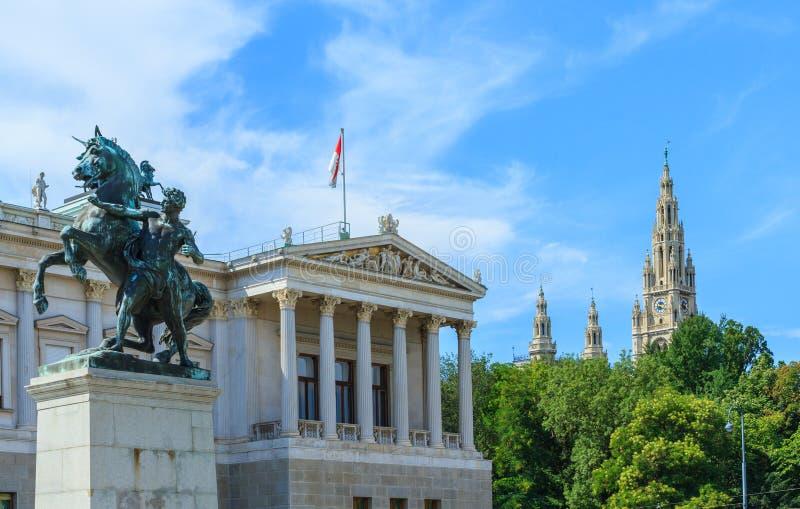 Austriacki parlament i urząd miasta w Wiedeń zdjęcie stock