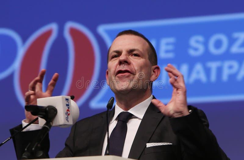 Austriacki prawicowy FPÃ- polityk Harald Vilimsky obraz stock