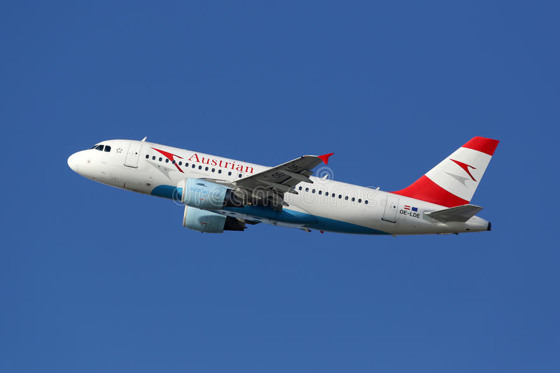 Austrian Airlines Airbus A319 airplane. Barcelona, Spain - December 12, 2014: An Austrian Airlines Airbus A319 with the registration OE-LDE taking off from royalty free stock images