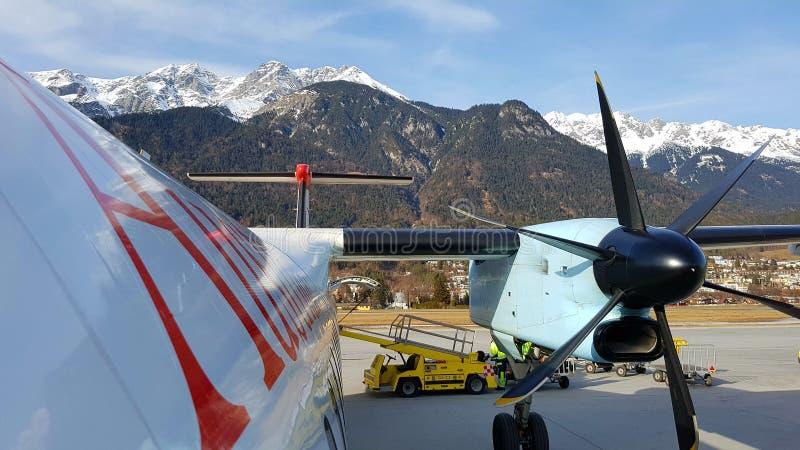 Austrian Airlines Innsbruck, Österrike arkivfoton