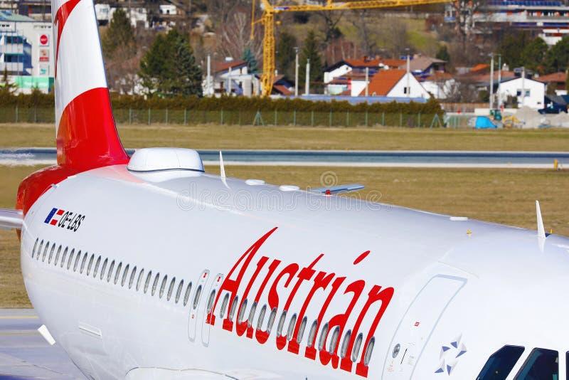 Austrian Airlines plane at Innsbruck Airport, INN, closeup stock image