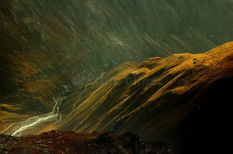 Austrian Alps. A dramatic alpine valley, Gloglogner in the Austrian Alps royalty free stock photos