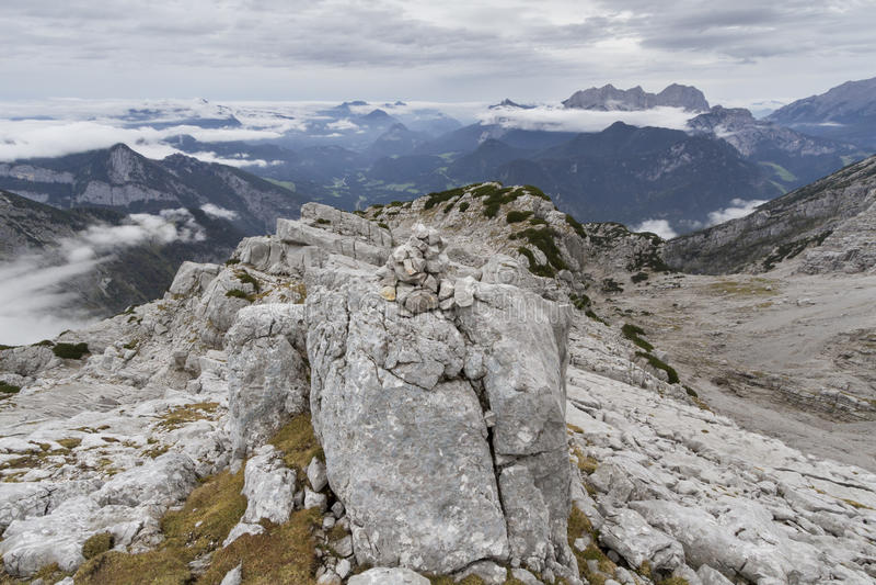 The austrian alps, Europe, in autumn fog. Autumn hiking in the Austrian Alps, Europe, in the Loferer Steinberge mountains stock photos