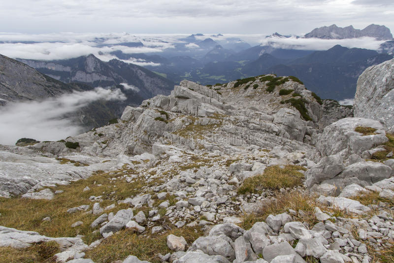 The austrian alps, Europe, in autumn fog. Autumn hiking in the Austrian Alps, Europe, in the Loferer Steinberge mountains stock photography