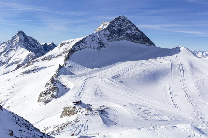 Austrian Alps in winter. Hintertux mountain landscape at Tirol, Top of Europe royalty free stock photography