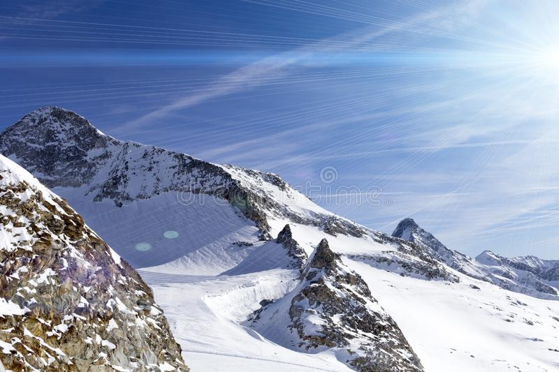 Austrian Alps in winter. Hintertux mountain landscape at Tirol, Top of Europe stock photography