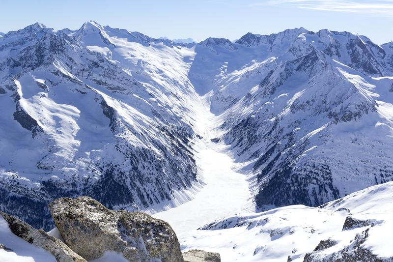 Austrian Alps in winter. Hintertux mountain landscape at Tirol, Top of Europe royalty free stock image