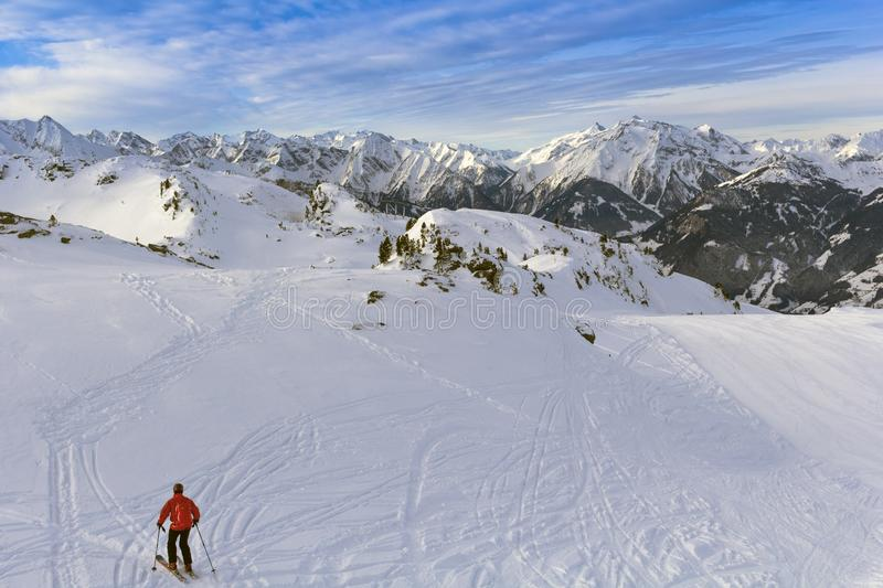 Austrian Alps in winter. Zillertal Arena mountain landscape at Tirol, Top of Europe stock photography