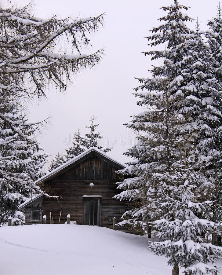 Austrian alps, wood cabin in winter with snow royalty free stock photography