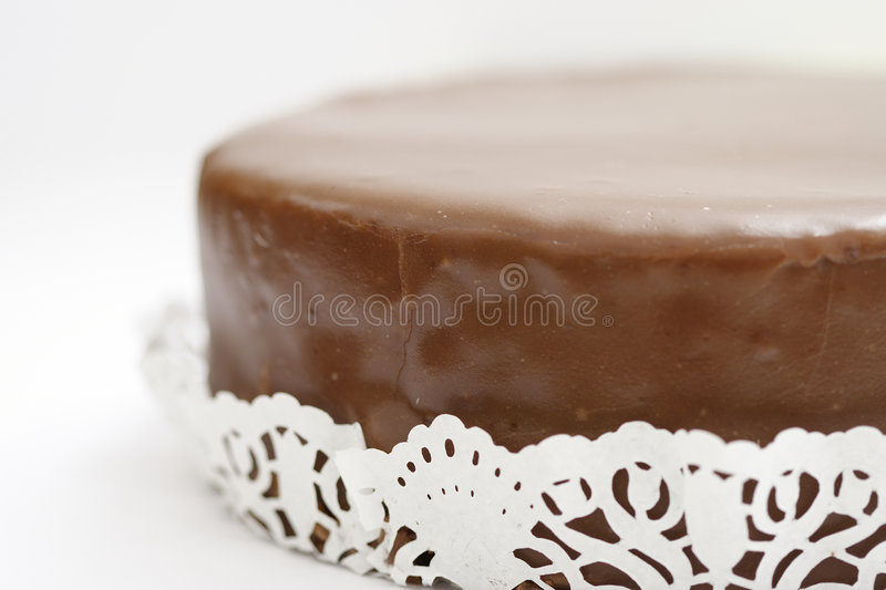 Austrian Cake Sacher Torte. On a white background royalty free stock images