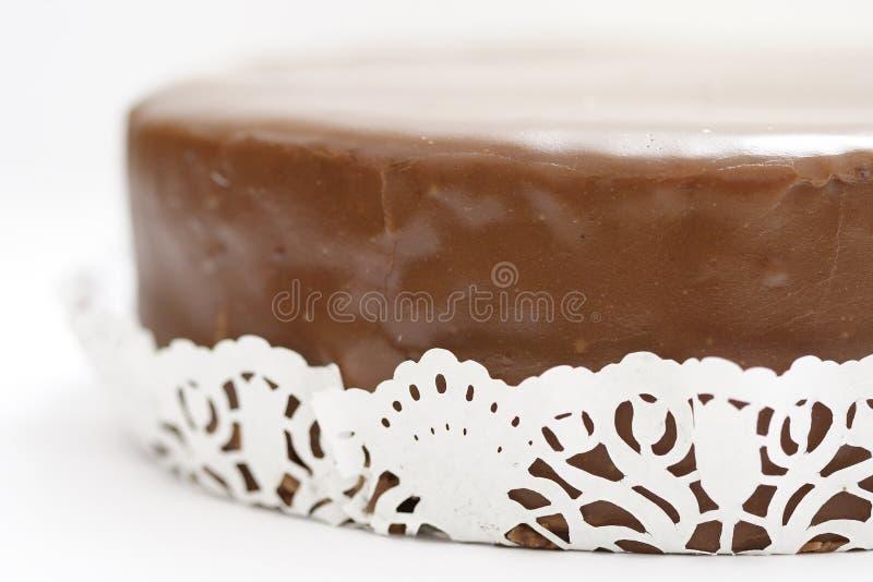 Austrian Cake Sacher Torte. On a white background stock photography