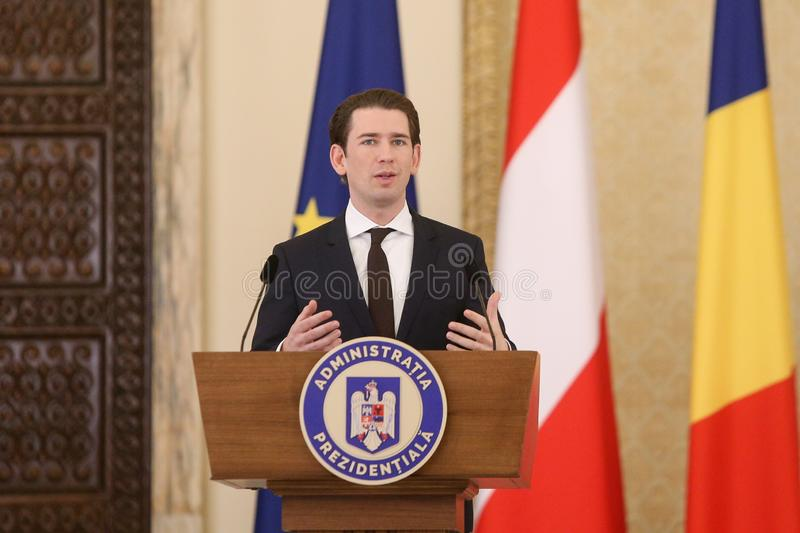 Austrian Chancellor Sebastian Kurz. BUCHAREST, ROMANIA - December 21, 2018: Austrian Chancellor Sebastian Kurz talks at a news conference with Romania`s royalty free stock photos