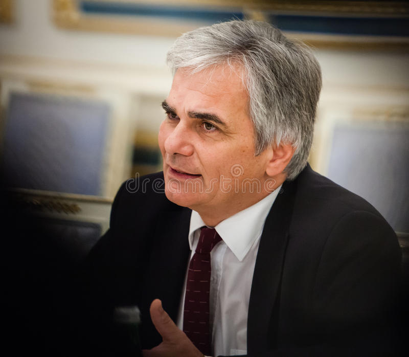 Austrian Chancellor Werner Faymann. KIEV, UKRAINE - Oct 1, 2014: Austrian Chancellor Werner Faymann during a meeting with the President of Ukraine Petro royalty free stock images