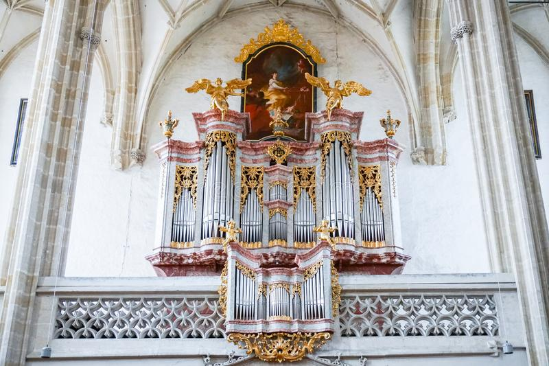 Austrian Christian Cathedral inside. Concept of Catholic interior and religious decorations royalty free stock photo