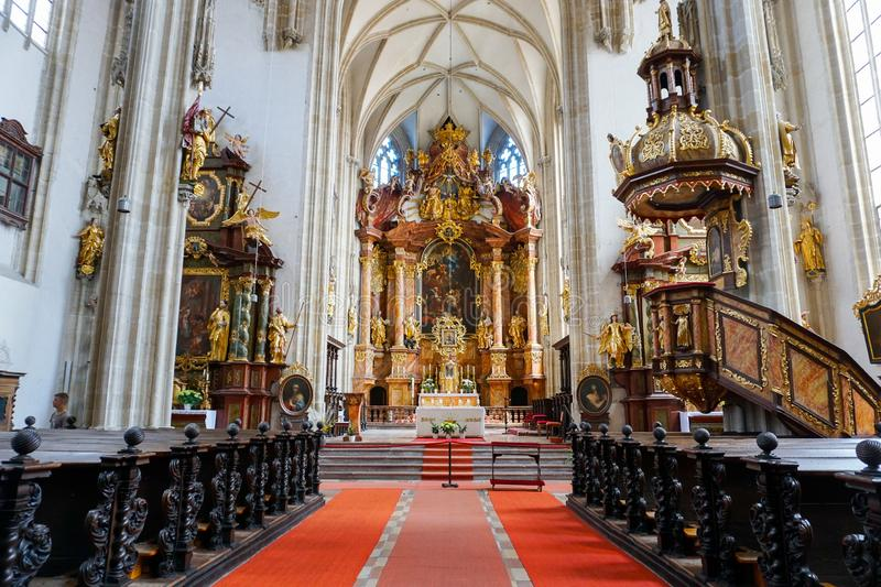 Austrian Christian Cathedral inside with wonderful ceiling and red carpet. Austrian Christian Cathedral inside with wonderful ceiling with wonderful ceiling and stock photos