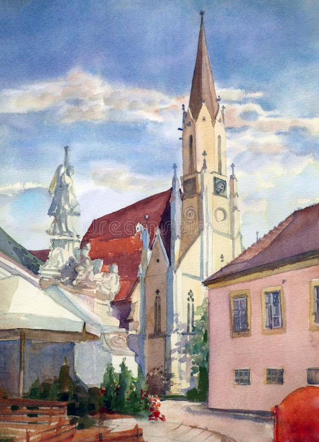 Austrian city of Melk. Landscape painted by watercolor stock illustration