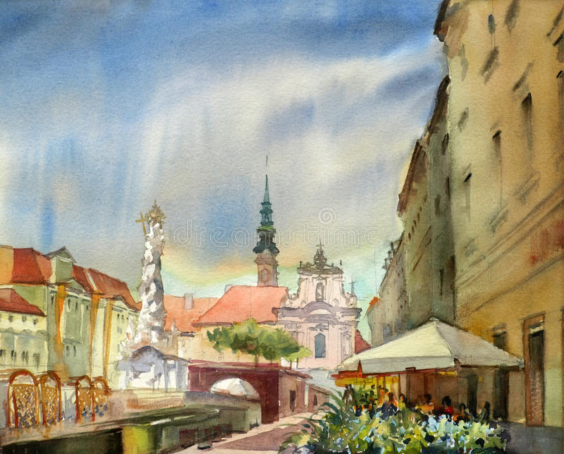 Austrian city Sankt Polten. Painted by watercolor royalty free illustration