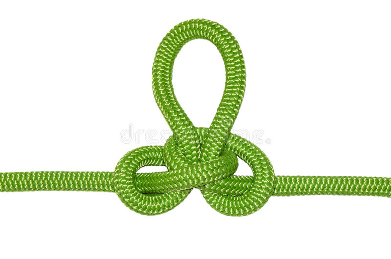 Austrian conductor knot. From the green rope, isolated on a white background stock image