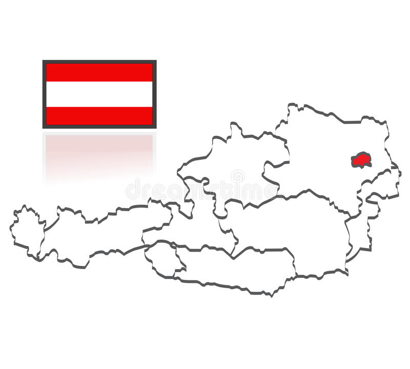 Austrian counties. Map and flag of Austria. Austrian counties for educational purposes royalty free illustration